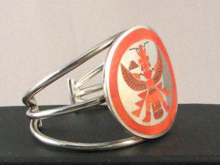 Native American Zuni Made Cuff Bracelet with Coral