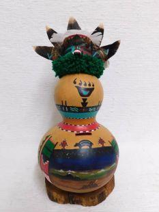 Native American Hopi Carved Badger Gourd Bank