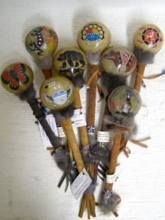 Native American Navajo Made Medium Painted Rawhide Rattles