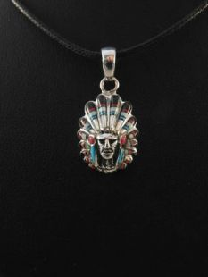 Native American Navajo Made Pendant--Chief with Inlaid Multistones