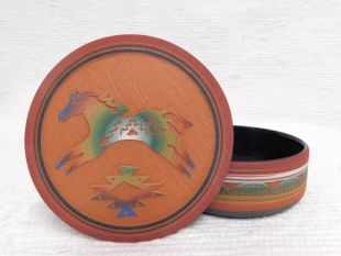 Native American Navajo Red Clay Medium Round Jewelry Box with Horse