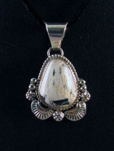 Native American Navajo Made Pendant with White Buffalo Turquoise