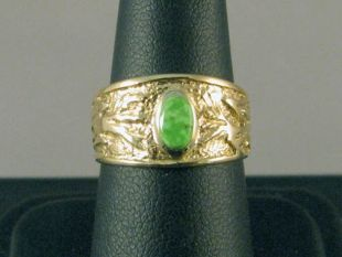 Native American Hopi Made 14K Gold Ring with Turquoise