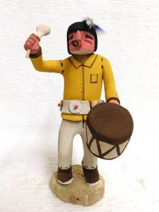 Native American Hopi Carved Clown Katsina Doll with Drum