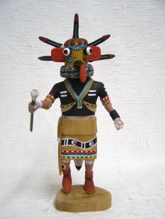 Native American Hopi Carved Yellow Sand Snake Guard Katsina Doll