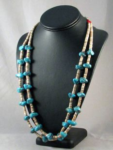 Vintage Native American Navajo Made Two-Strand Turquoise Nugget and Heishe Necklace