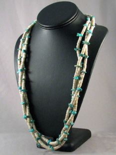 Vintage Native American Navajo Made Three-Strand Turquoise and Heishe Necklace