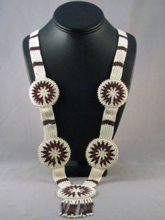 Native American Navajo Made Beaded Wedding Basket Necklace