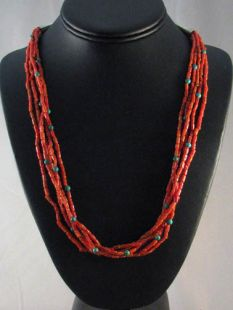 Native American Made Five-Strand Coral Necklace