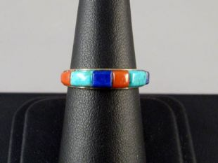 14K Gold Ring with Native American Hopi Made Inlay