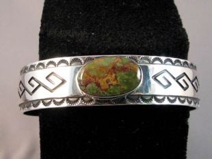 Native American Navajo Made Cuff Bracelet with Battle Mountain Turquoise