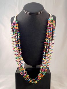 Native American Navajo Made Multistrand Necklace with Shell