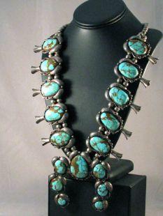 Vintage Native American Navajo Made Squash Necklace with Naja