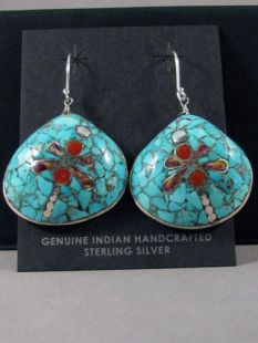Native American Santo Domingo Made Multistone Earrings with Dragonfly on Shell