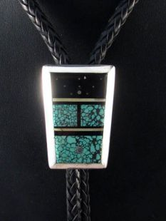 Vintage Native American Navajo Made Bolo with Turquoise and Jet