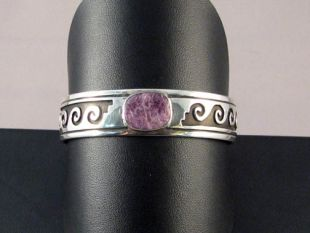 Native American Navajo Made Cuff Bracelet with Charoite