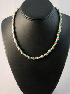 Native American Navajo Made Ghost Bead and Turquoise Necklace