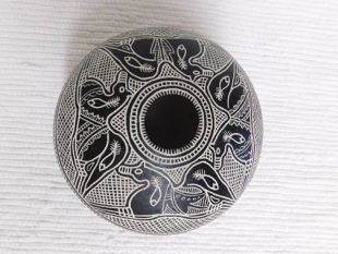 Native American Acoma Etched and Handpainted Seed Pot with Horses