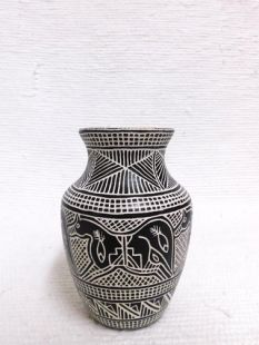 Native American Acoma Etched and Handpainted Pot with Horses