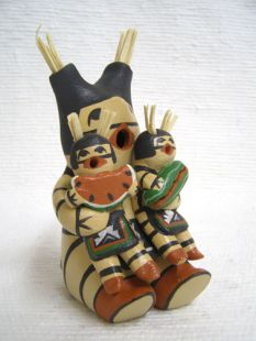 Native American Jemez Made Koshare Storyteller with Two Little Koshares with Watermelon