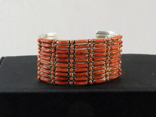 VIntage Native American Zuni Made Cuff Bracelet with Coral
