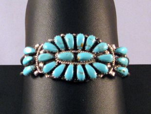 Native American Navajo Made Cuff Bracelet with Turquoise Blossom