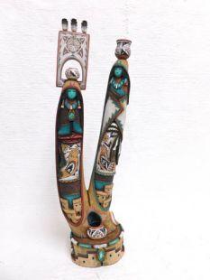 Native American Laguna Carved Triple Pot Carrier Sculpture