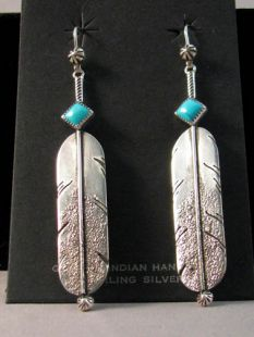Native American Navajo Made Sterling Silver Eagle Feather Earrings
