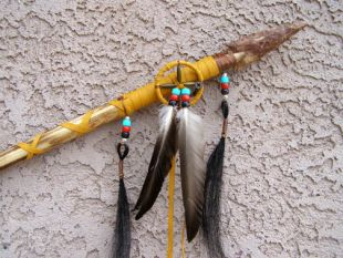 Native American Navajo Made Spear with Medicine Wheel