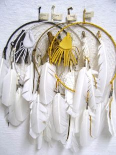 "12""--Native American Navajo Made Dreamcatcher with Feather and Medicine Bag"