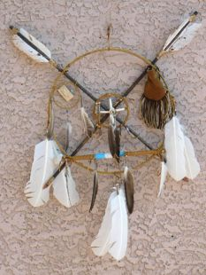 Native American Navajo Made Ceremonial Peace Shield with Pipe
