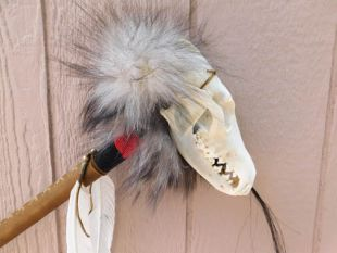 Native American Made Ceremonial Coyote Skull Rattle Dance Stick