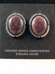 Vintage Native American Navajo Made Earrings with Lavender Sugilite--Clip-ons