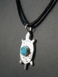 Native American Navajo Made Pendant with Turtle