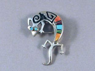 Native American Navajo Made Lizard Pin/Pendant with Multistone Inlay