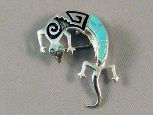 Native American Navajo Made Lizard Pin/Pendant with Turquoise Inlay