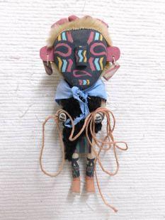Old Style Hopi Carved Heheya Traditional Messenger Katsina Doll-Black Face