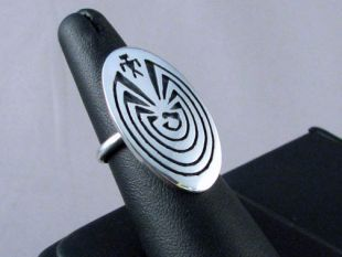 Native American Hopi Made Man in the Maze Ring