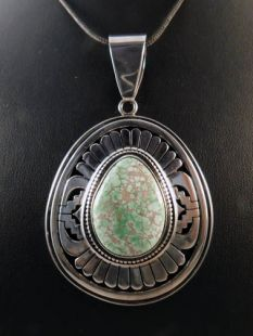 Native American Navajo Made Pendant with Turquoise