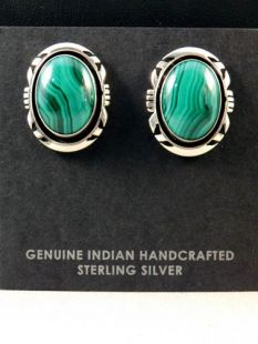 Vintage Native American Navajo Made Earrings with Malachite