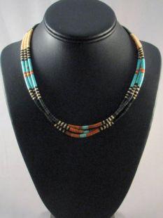 Native American Santo Domingo Made Three-Strand Necklace