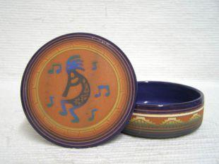 Native American Navajo Red Clay Medium Round Jewelry Box with Kokopelli