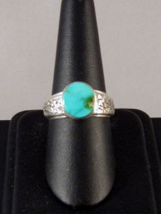 Native American Hopi Made Ring with Lander Blue Turquoise
