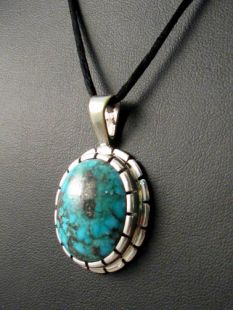 Native American Hopi Made Pendant with Morenci Turquoise