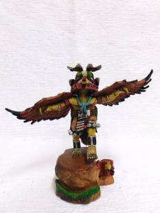 Native American Hopi Carved Red Tail Hawk Guard Katsina Doll