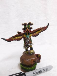 Native American Hopi Carved Red Tail Hawk Guard Katsina Doll--mini