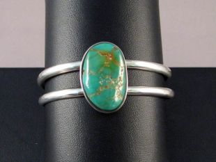 Native American Hopi Made Cuff Bracelet with Turquoise