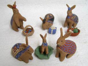 Mata Ortiz Handbuilt and Handpainted Rabbit Nativity