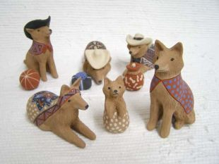 Mata Ortiz Handbuilt and Handpainted Coyote with Hats Nativity