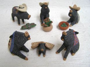 Mata Ortiz Handbuilt and Handpainted Javelina with Hats Nativity